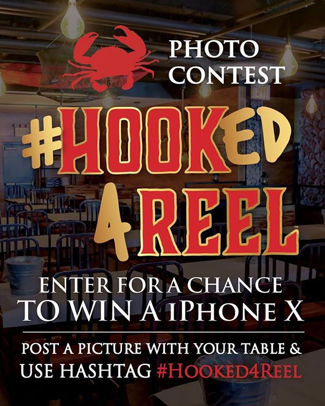 OUR WINNER WILL BE PICKED THIS WEEK... don't forget to send in your last minute entries for a chance to win an #iphonex  Here's a refresher on the rules: Simply post a picture of your table with #Hooked4Reel! Get creative and show us how much you love our delicious southern style cajun seafood boils!! (Picture must be taken at the restaurant. Winner will be announced at the end of the month)