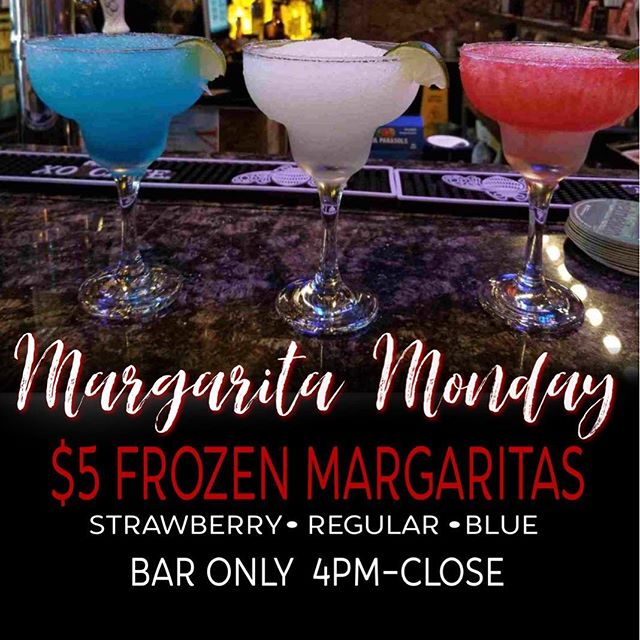 We know Mondays can be rough...that's why we're treating you to a great #MargaritaMonday deal. Join us TOMORROW Monday, September 24th for $5 MARGARITAS!!!! Strawberry, Regular or Blue flavors available. House tequila only. VALID ONLY at the bar from 4pm-close.