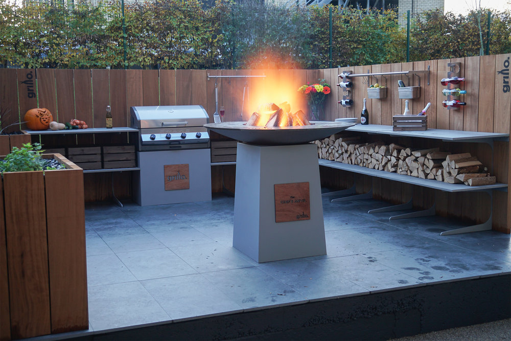 Chef's Anvil and Cadac gas barbeque in a Grillo Forge kitchen