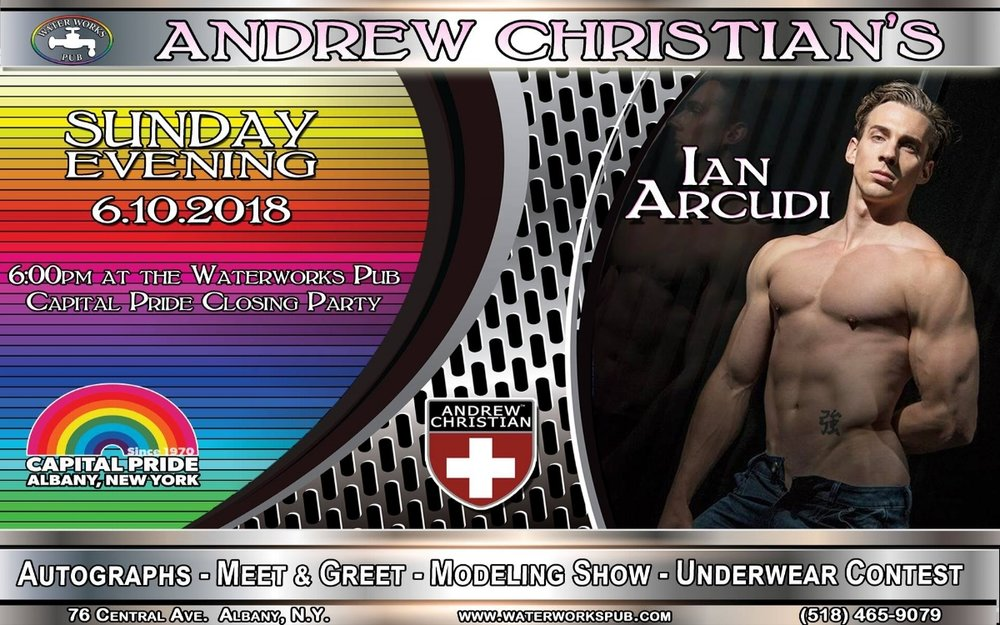 - Sunday, June 10, starting @ 6pm Capital Pride AfterParty at Waterworks. Featuring Andrew Christian's Ian Arcudi. Don't miss the Official Capital Pride AfterParty!