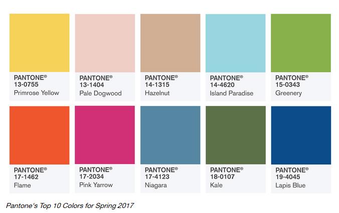 Pantone top 10 colors spring 2017