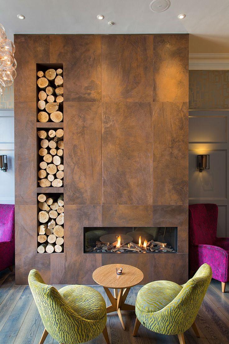 beautiful fireplace design winter