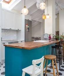 blue kitchen islands