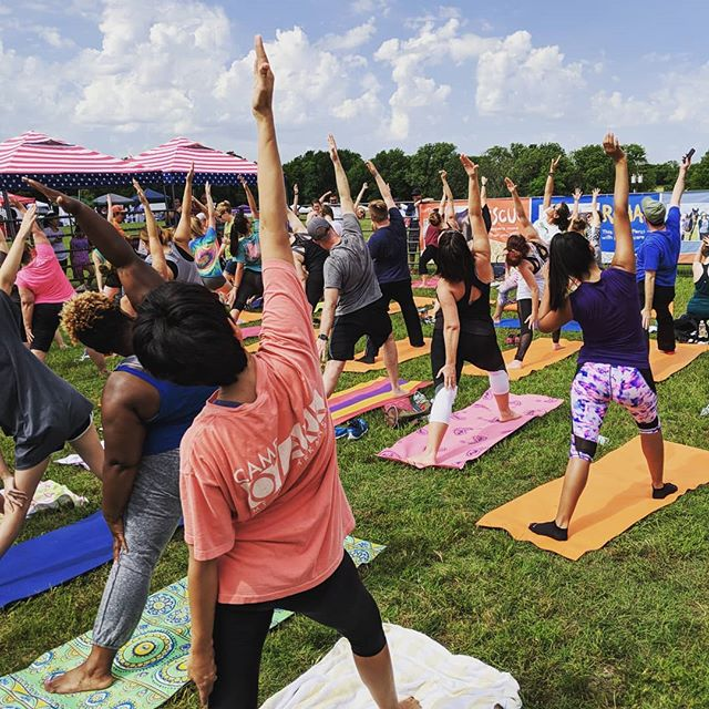 Yoga in #thegreatoutdoors 🧘 We've got fitness activities until 3 o'clock, so you've still got time! ☀️🤸 . . . #yellowwoodfestival #bemckinney #yoga  #goatyoga #mckinney #mckinneytx #mckinneytexas