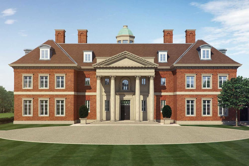 Artists impression of a new country house and estate by Adam Architecture