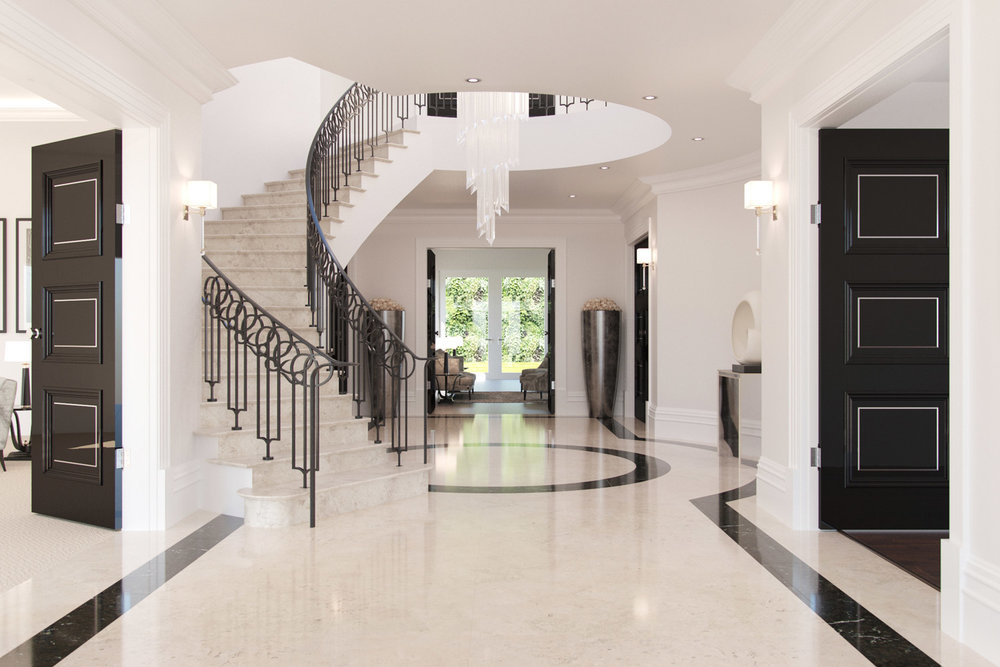 Artists impression of a luxury reception hallway
