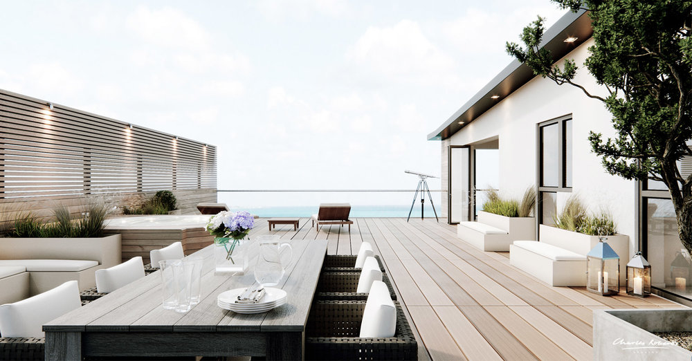 Artists impression of the penthouse terrace