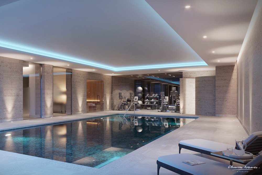 Artists impression of the pool and spa