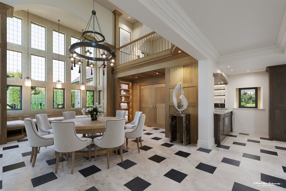 Interior CGI of a new arts and crafts style house in Surrey