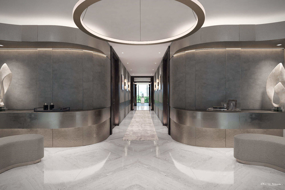 CGI of the entrance hallway interior design One Hyde Park by Charles Roberts Studios.