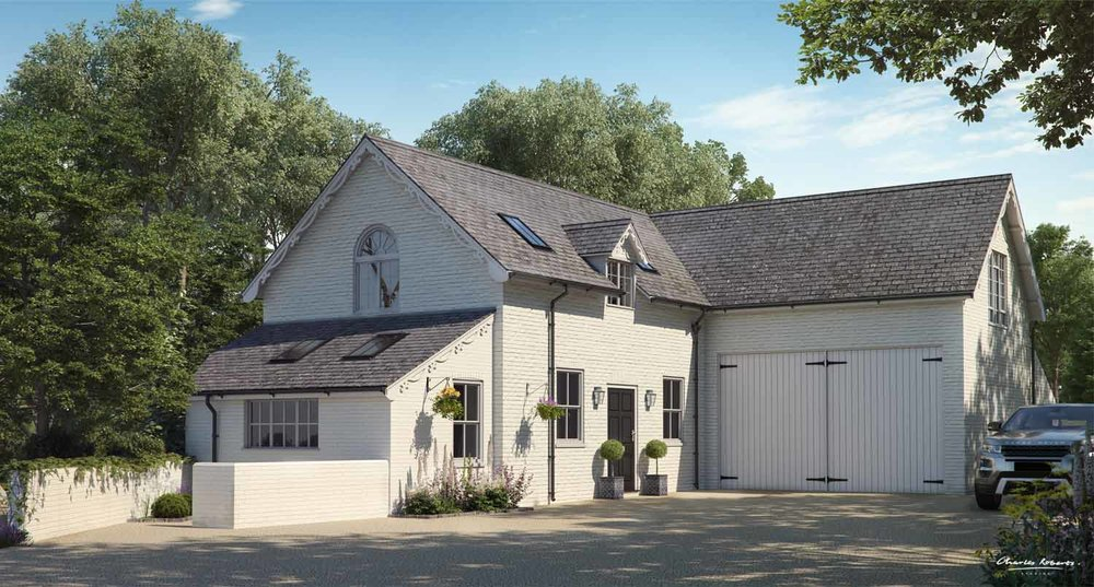 Property CGI visual of a forest cottage renovation for planning-application