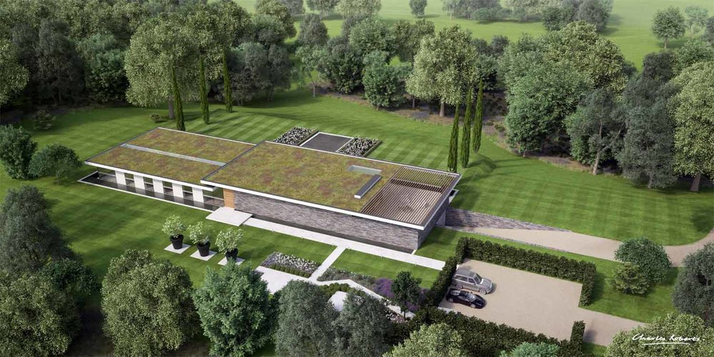 Aerial CGI of the house
