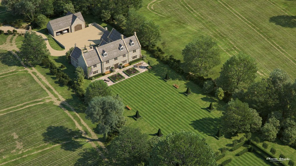 Birds-eye architectural visualisation new Cotswold house