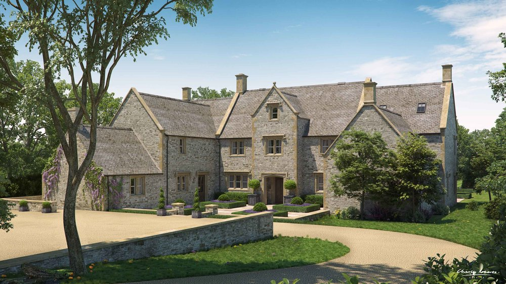 Architectural visualisation manor house in the Cotswolds