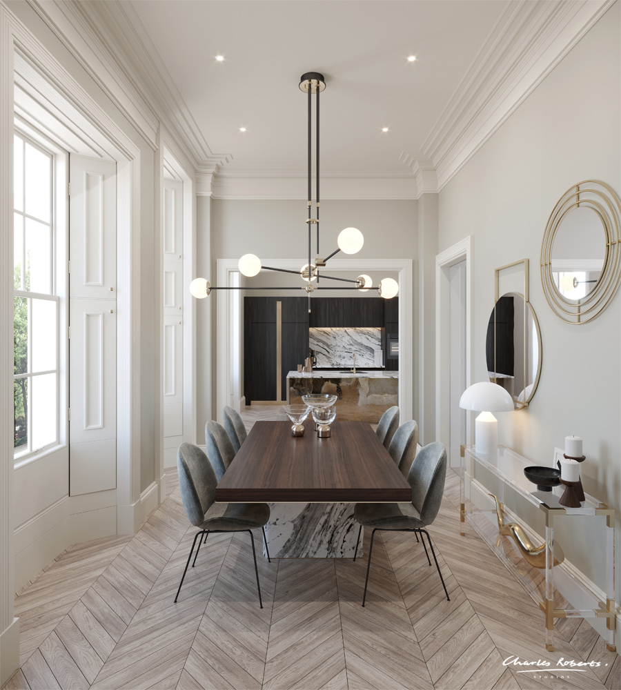 3d visualisation high-end kitchen dining room