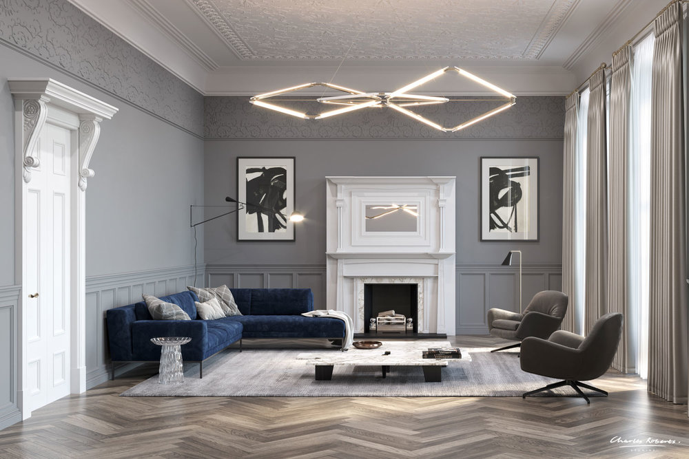 Contemporary interior design propsed for the drawing room