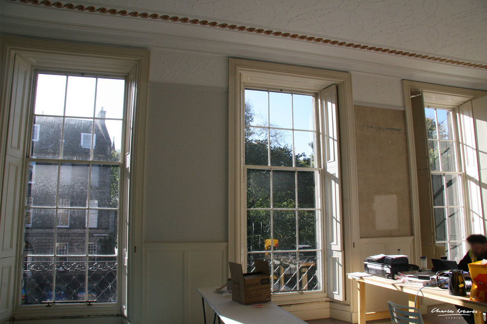Existing drawing room before CGI. We meticulously recreated the mouldings and plaster in the CGI below.