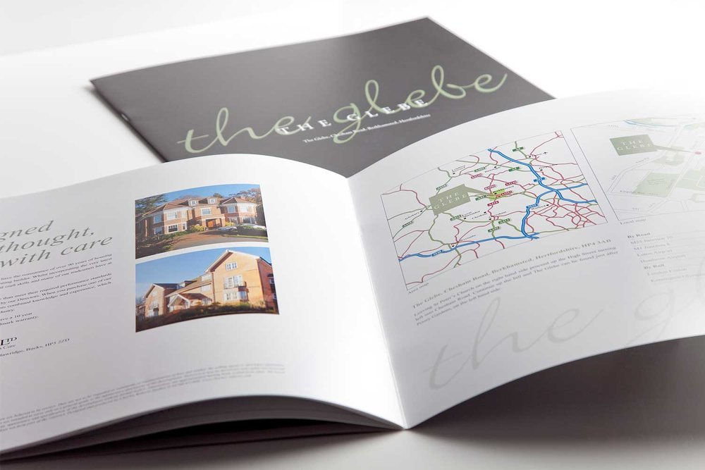 Inside pages of a property brochure design