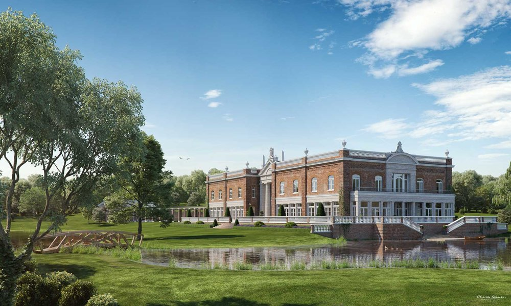 Property CGI garden view of a new country house by Robert Adam