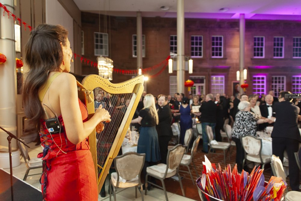 An MC and a Performer - Another way Kate can help the event to appear as a whole is to perform. Some organisers ask her to play her harp during the dinner, others prefer to have a three-song mini-concert.All see Kate's unique performing talent as an advantage to the event either by cutting costs by avoiding hiring a new entertainer or either as a welcome surprise. Kate's can also learn new musics to impact even more the memories of the audience.