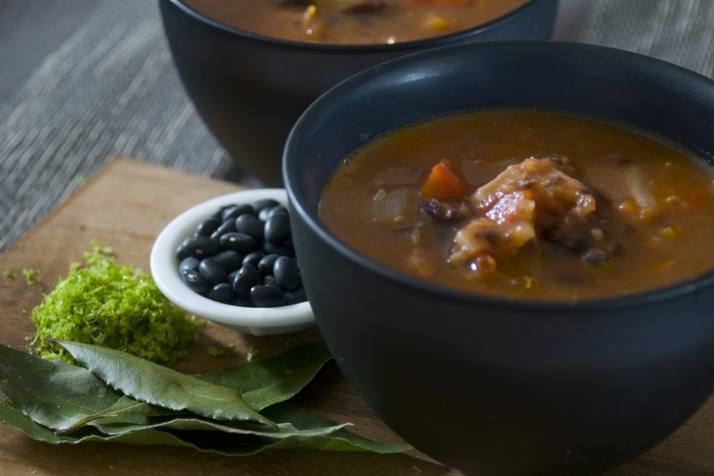 beef and barley broth with balsamic and herbs -