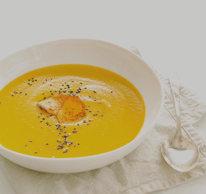 sweet potato soup with coriander & blood orange -