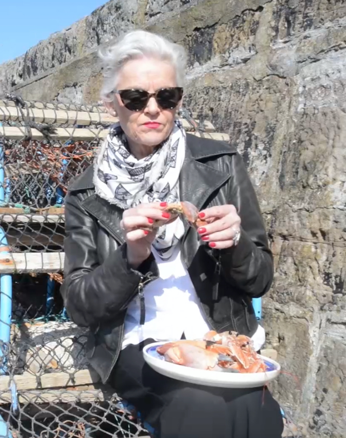 Me eating crab claws on St Monans' harbour in the Kingdom of Fife, Scotland on a beautiful sunny day! Doesn't get much better than this!