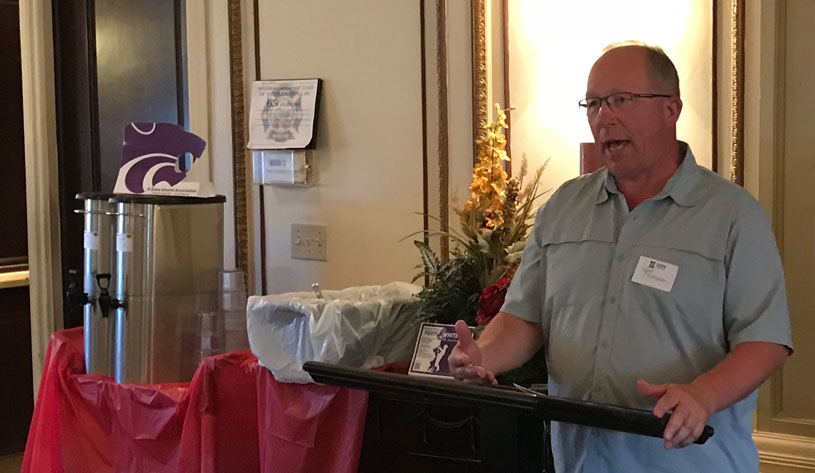 Voice of the Wildcats, Wyatt Thompson speaking at the 2018 Southwest Wildcats Friends & Alumni Luncheon at Ruffino's Italian Restaurant, Liberal, KS, May 16, 2018.