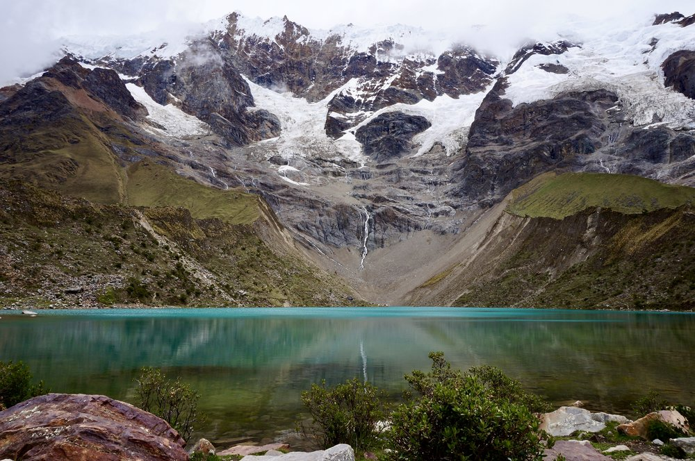 High altitude glacial lake. (Humantay, Peru).