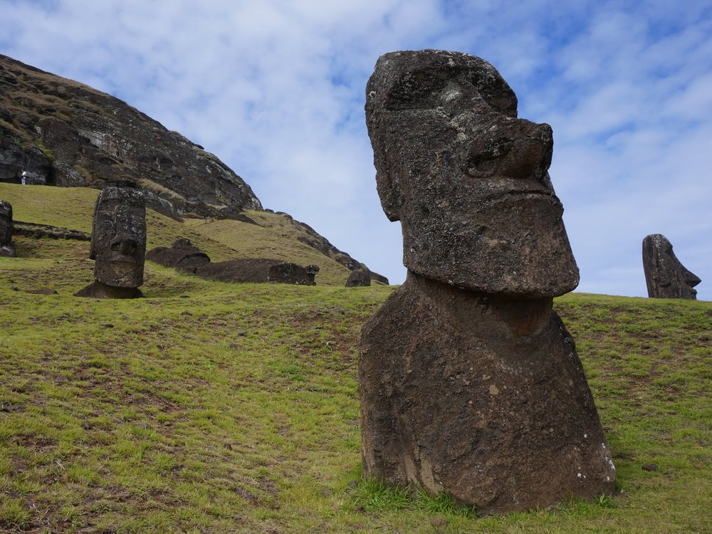 A  moai  stands on the slopes of Rano Raraku. (Isla de Pascua).