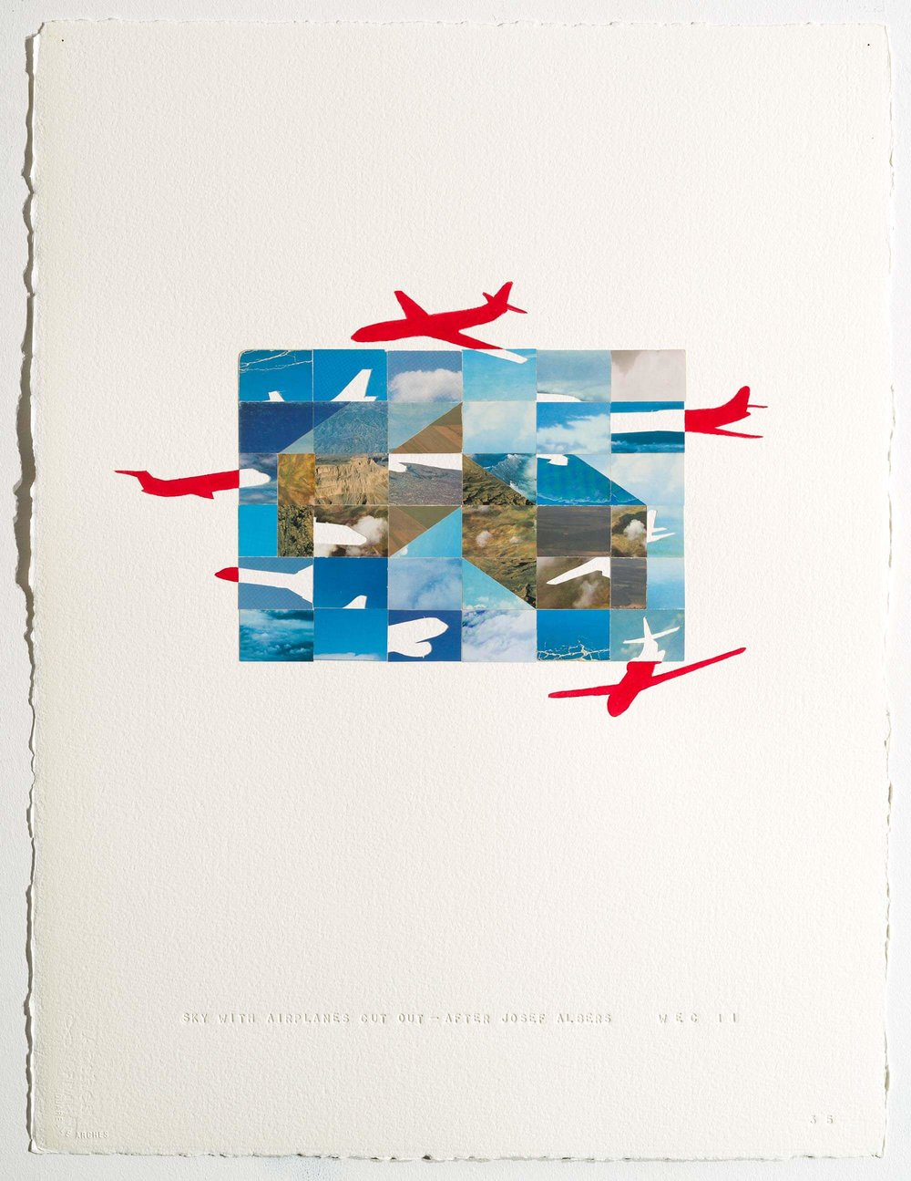SKY WITH AIRPLANES CUT OUT — AFTER JOSEF ALBERS