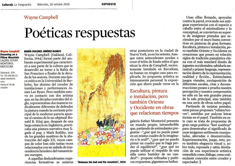 La Vanguardia Culturals Wayne E Campbell feature 10 Oct 2010.jpg