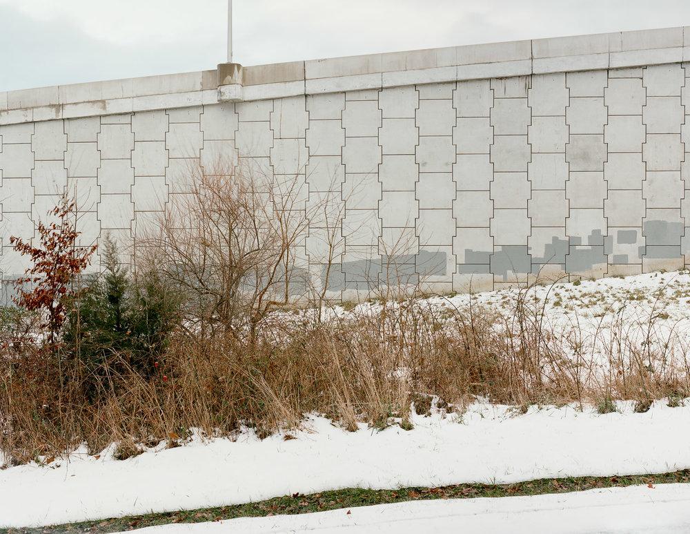 Highway barrier wall, Leesburg, Virginia, 2012