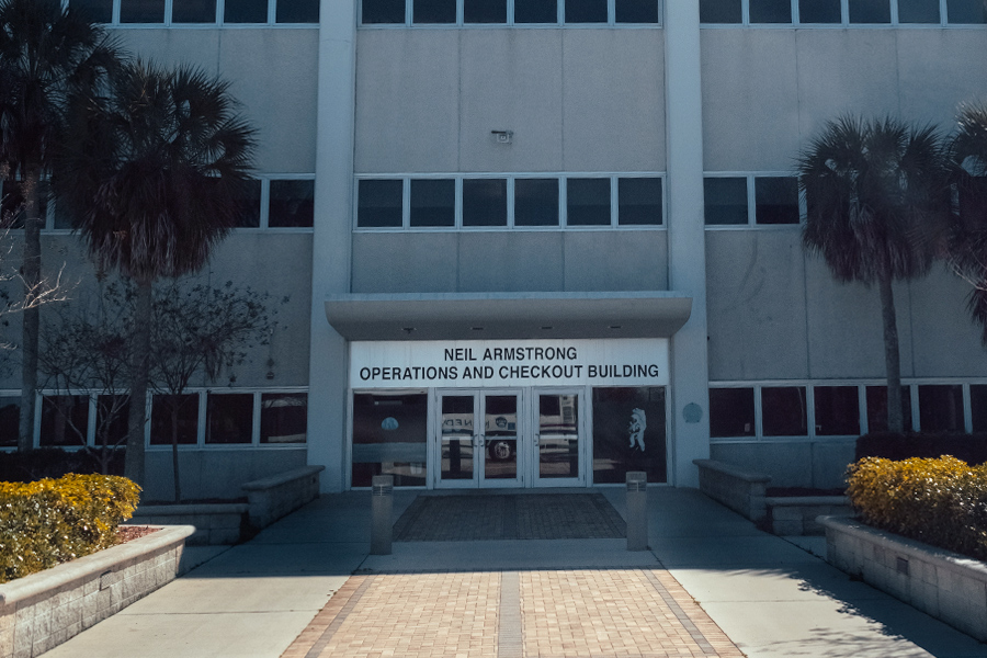 Entrance of the Neil Armstrong Operations and Checkout Building