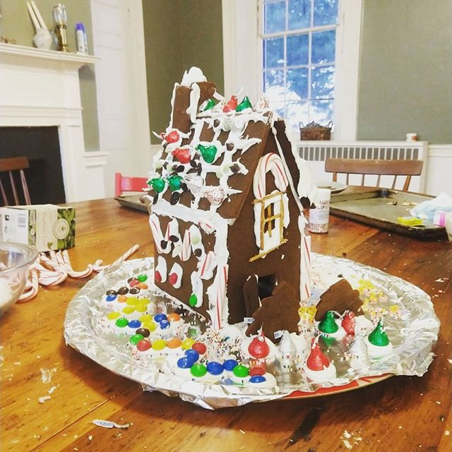 Rainy day fun #happyholidays #gingerbreadhouse #nohealthfoodhere