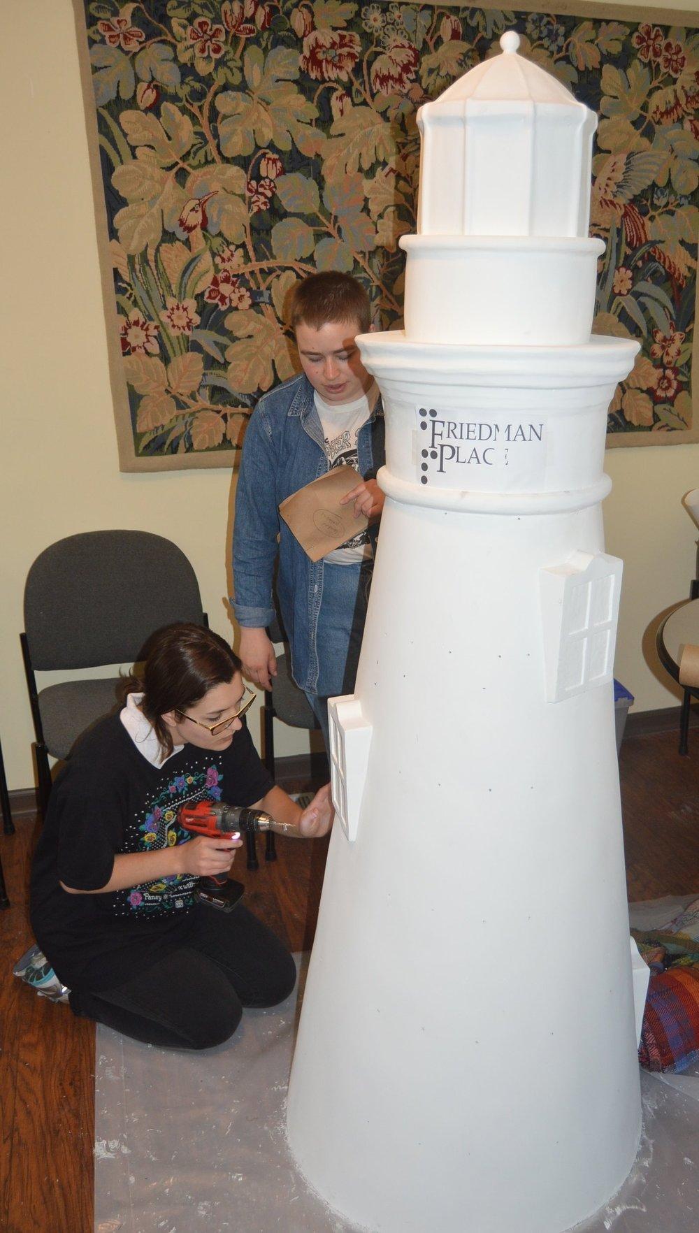 Friedman Place Lighthouse - Drilling!.JPG