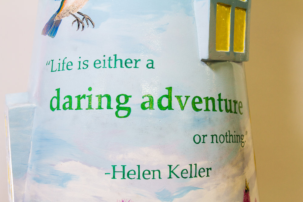 Helen Keller embraced life to the fullest. She traveled throughout the world and was active in many communities. This quote is painted on another lighthouse sculpture as part of Lighthouses on The Mag Mile celebrating access and inclusion for people with disabilities. This lighthouse is by artist Carrie Carlson.