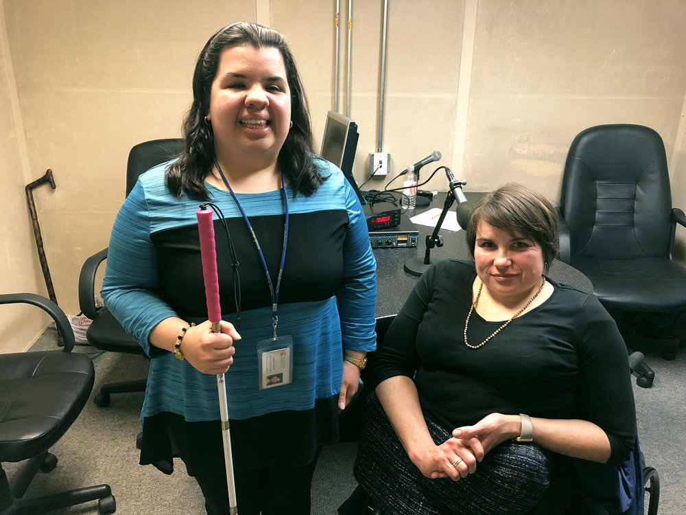Karen Tamley, the Commissioner for the Chicago Mayor's Office for People with Disabilities (right) pictured inside of the  CRIS Chicago  Studio at The Chicago Lighthouse after an interview with Associate Producer Sandy Murillo (left).