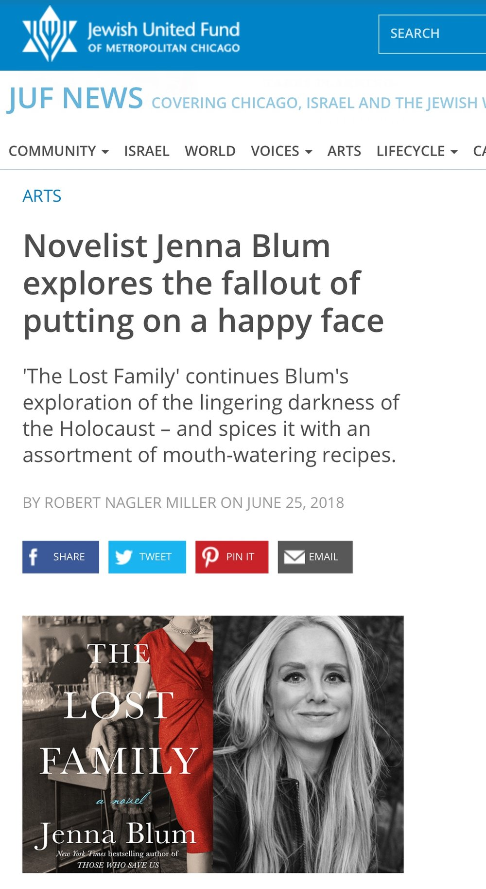 Jewish United Fund - Chicago News Reviews The Lost Family - We love this review of The Lost Family from the JUF-Chicago News, as multi-layered as a good Reuben in examining Jenna's motives and inspirations for writing the novel, including her family background, the Holocaust survivors she interviewed, religion, and FOOD. To read the review, click here.
