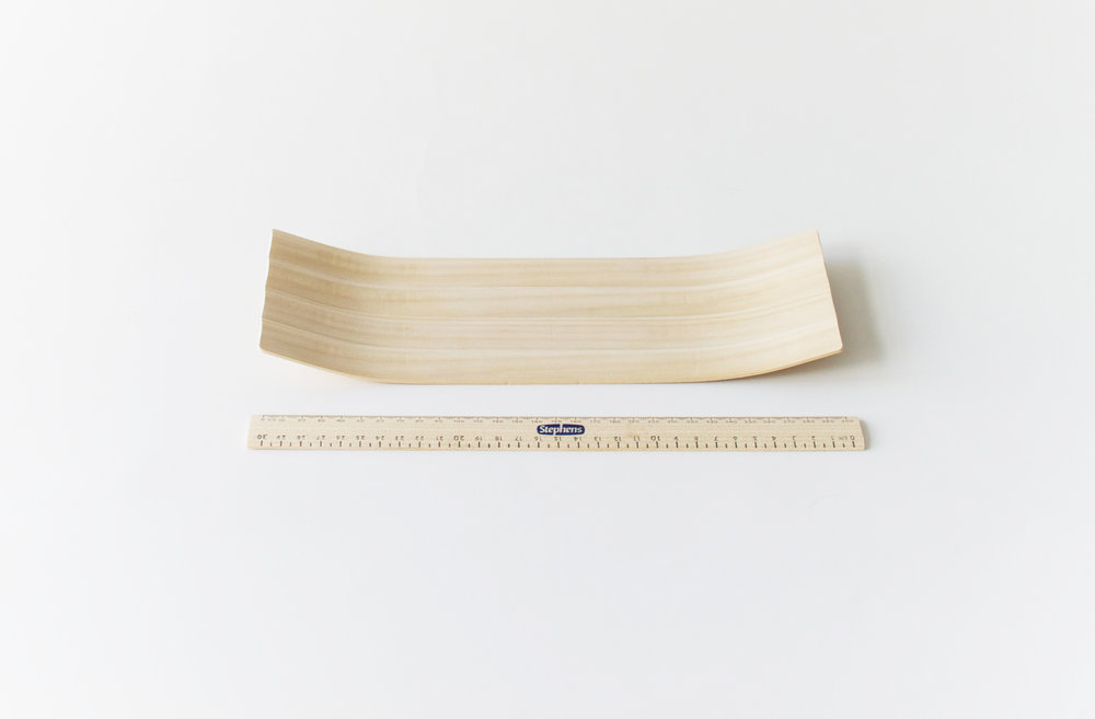 Microwave-steam-bent ruler tray