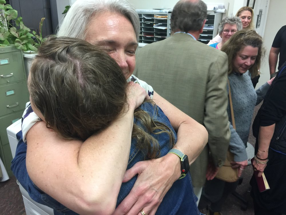 Hugging my daughter, Abby, after formally accepting the Democratic nomination to run for the Connecticut General Assembly representing the 64th District.