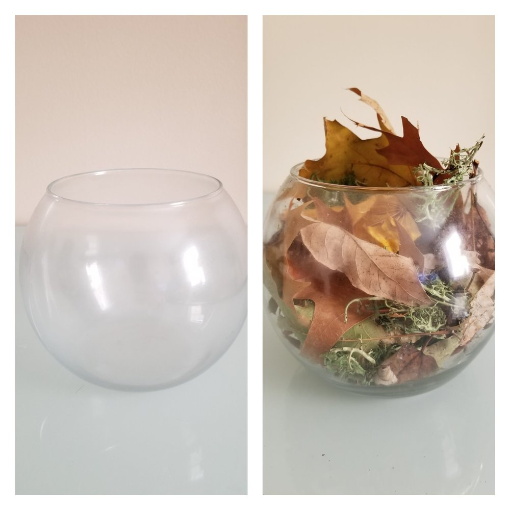 small glass vase filled with leaves as a diy center piece