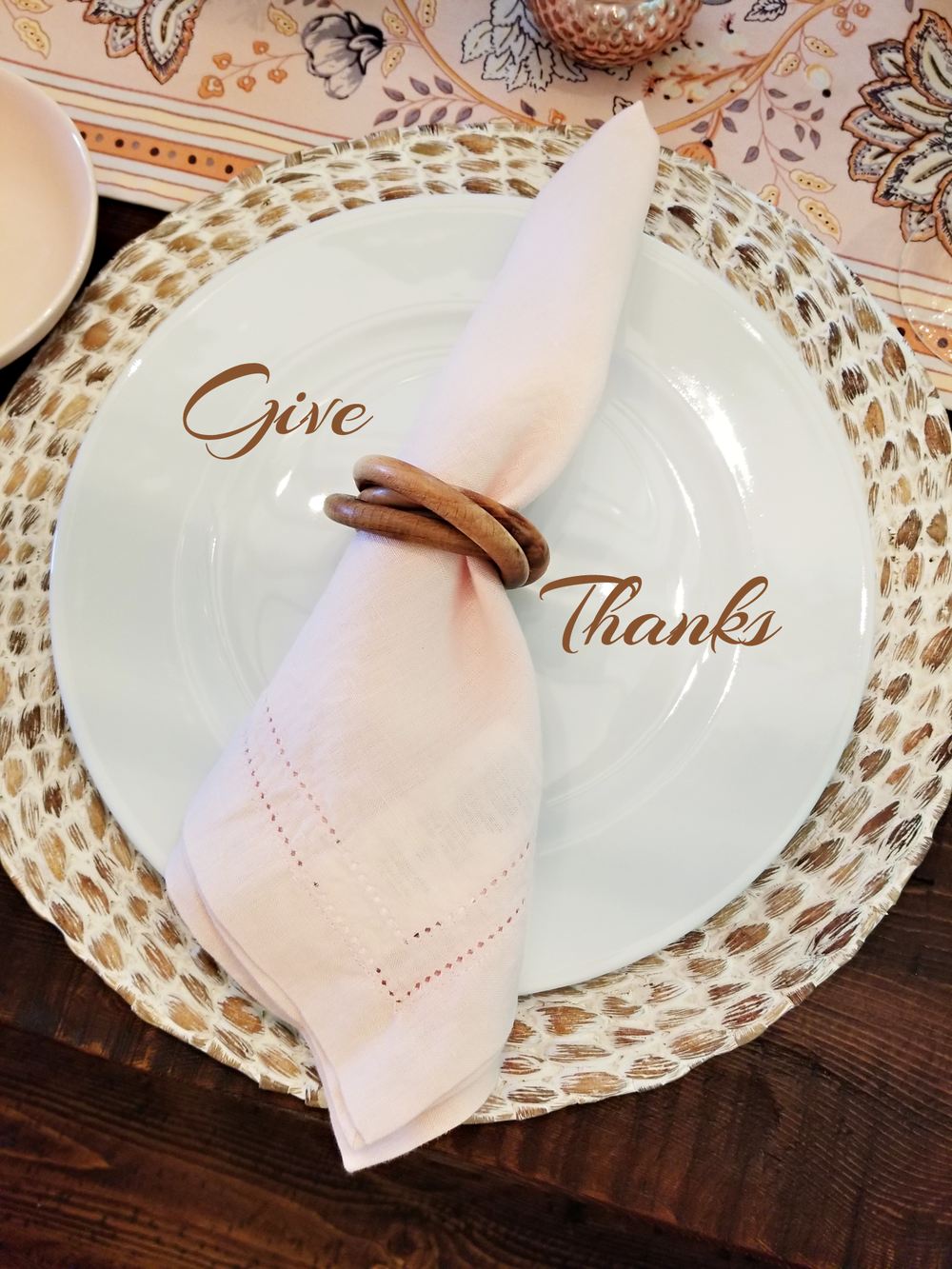 coastal place mat, table runner. light pink napkin and wooden napkin ring