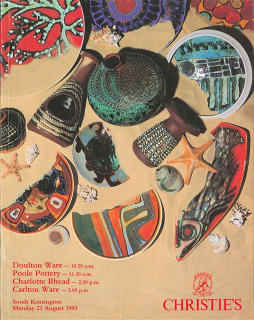 - The cover of the 1993 catalogue includes pieces by Guy Sydenham and Tony Morris.