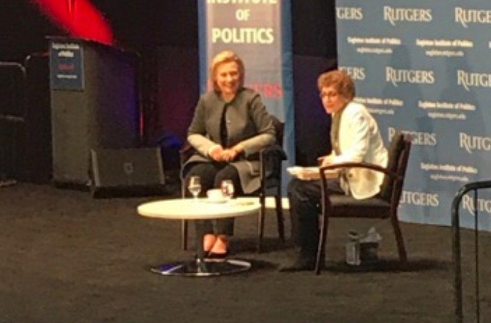 Hillary Clinton Speaks with the Director of the Eagleton Institute of of Politics (Ruth Mandel)at the RAC