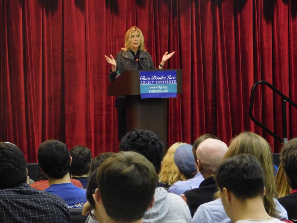 Christina Hoff Sommers speaks to a packed crowd at the Douglass Student Center