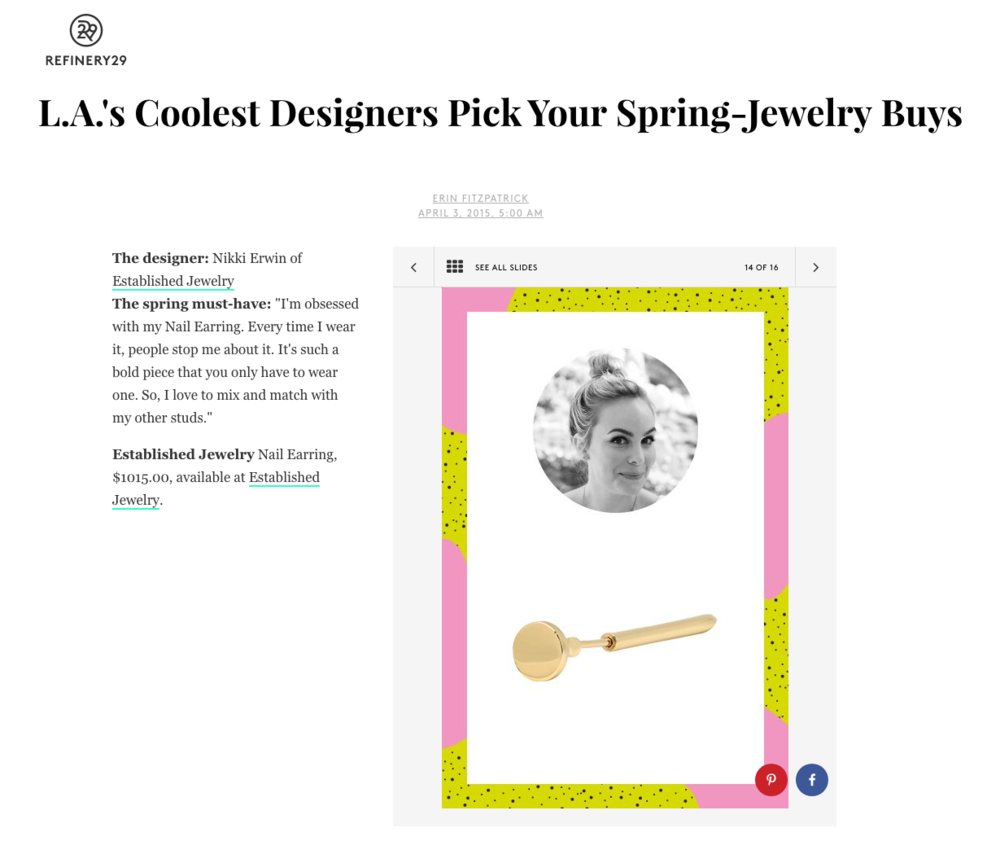 Established Jewelry Editorial Press, Refinery 29
