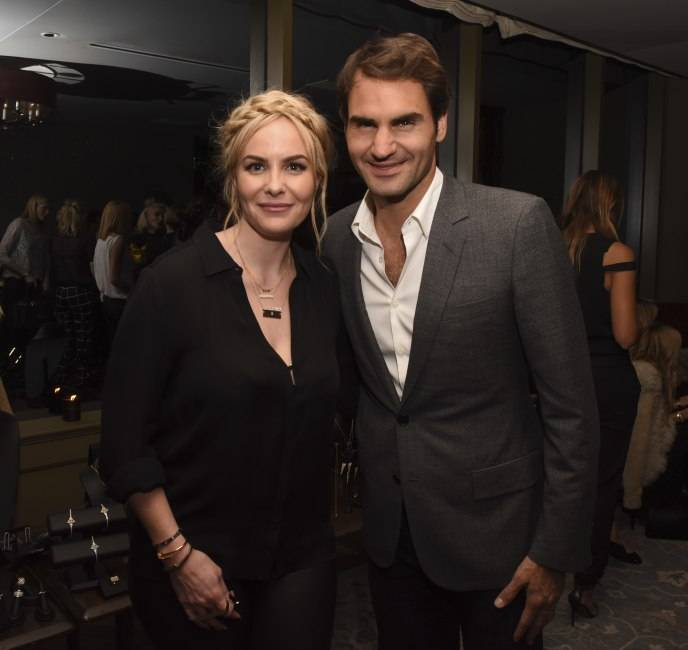 Nikki poses with Roger Federer at the launch party of her Established jewelry line in March  Photo Credit: Vivien Killilea for Getty Images