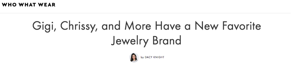 Established Jewelry Editorial Press, WHO WHAT WEAR