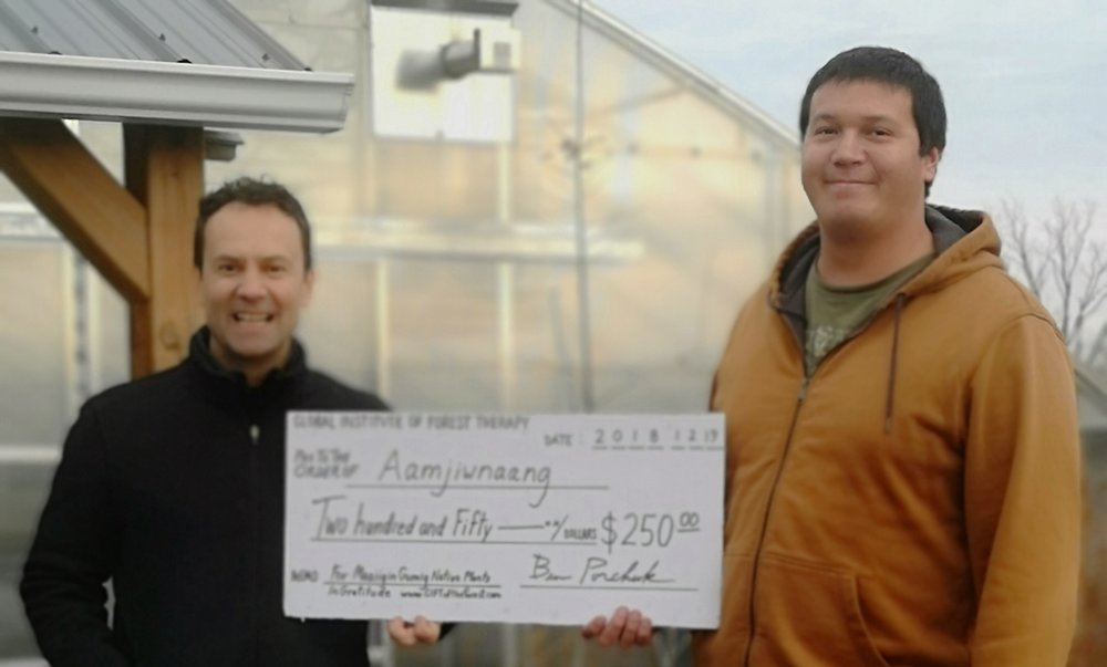 GIFT Giving ! …Ben on behalf of GIFT donating $250 to Kyle of Aamjiwnaang First Nation to help a recently launched Native Plant Nursery to help recover nature to surrounding landscapes as well as assisting in the health of community residents.